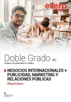 Folleto Doble Grado en Negocios Internacionales y Publicidad, Marketing y Relaciones Públicas en Barcelona width=