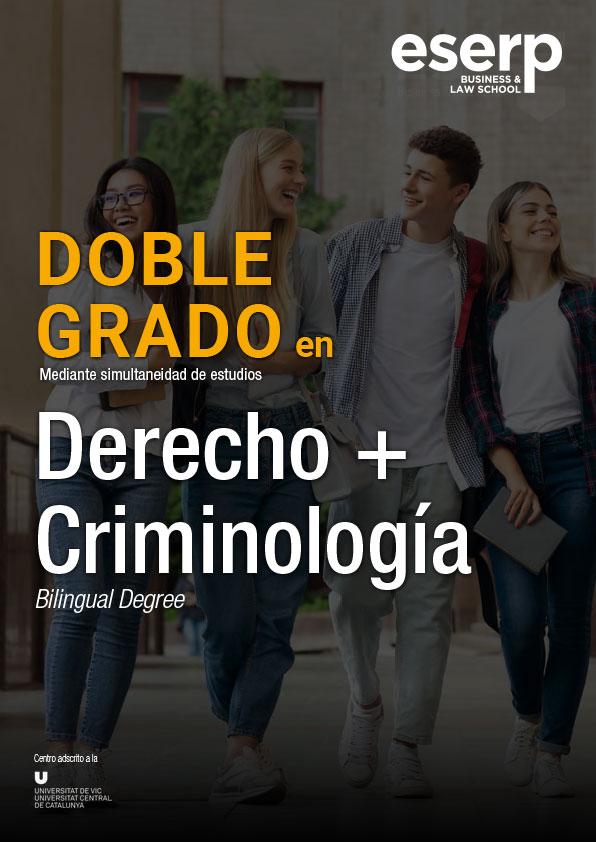 Folleto Doble Grado en Derecho y Criminología en Barcelona