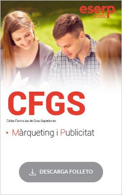 Folleto del Ciclo Formativo de Grado Superior (CFGS) en Marketing y Publicidad en Barcelona