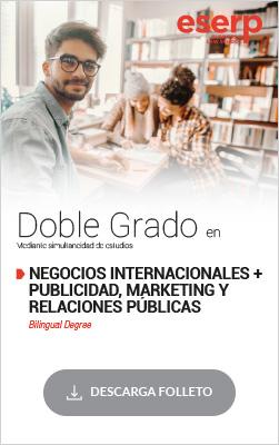 Folleto del Doble Grado en Negocios Internacionales y Publicidad, Marketing y Relaciones Públicas en Barcelona
